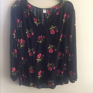 Old Navy Floral Print Long Sleeve Blouse